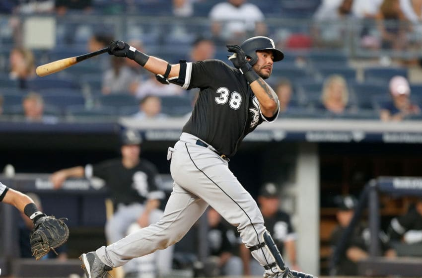 NEW YORK, NY - AUGUST 28: Omar Narvaez #38 of the Chicago White Sox in action against the New York Yankees at Yankee Stadium on August 28, 2018 in the Bronx borough of New York City. The Yankees defeated the White Sox 5-4. (Photo by Jim McIsaac/Getty Images)