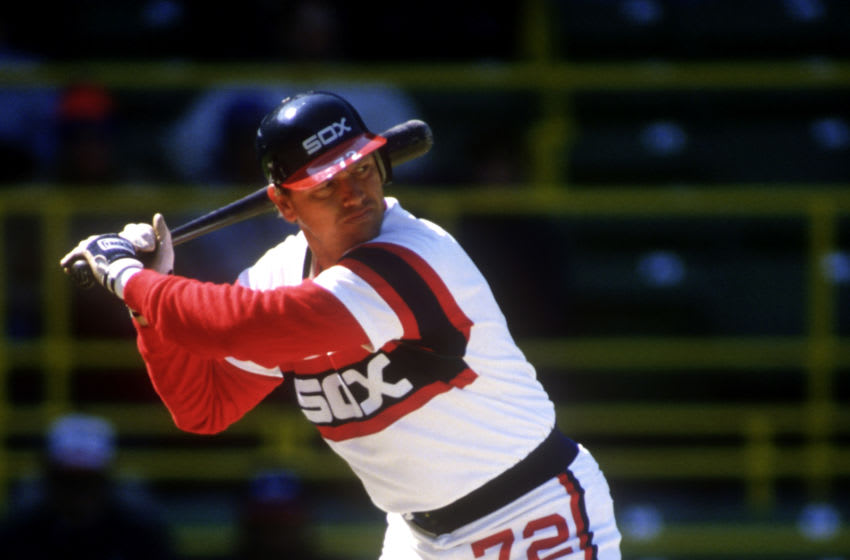 CHICAGO - CIRCA 1985: Carlton Fisk #72 of the Chicago White Sox bats during an MLB game circa 1985. Fisk played for the White Sox from 1980 through 1993. (Photo by Ron Vesely/MLB Photos via Getty Images)