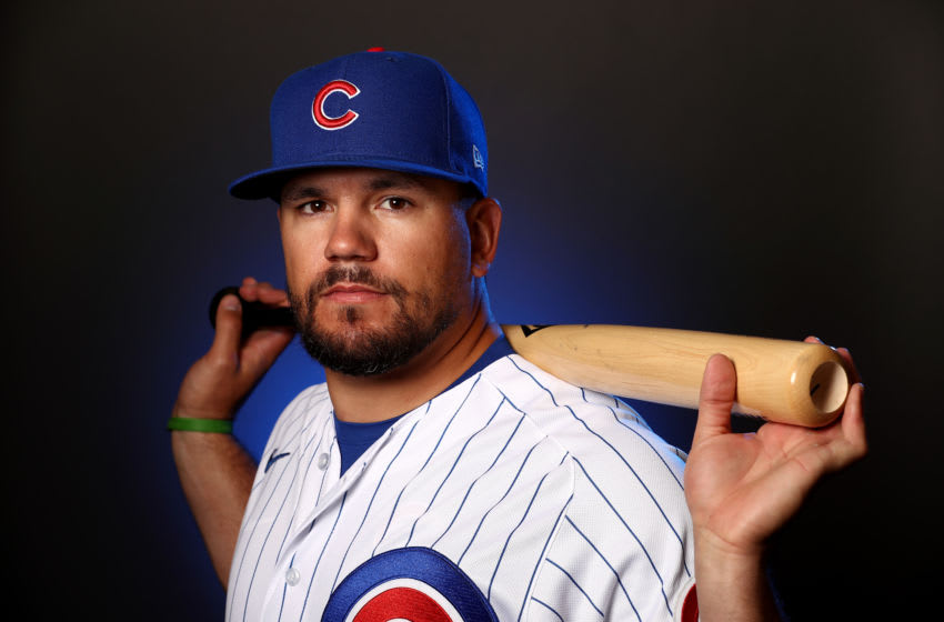 MESA, ARIZONA - FEBRUARY 18: Kyle Schwarber #12 of the Chicago Cubs poses during Chicago Cubs Photo Day on February 18, 2020 in Mesa, Arizona. (Photo by Jamie Squire/Getty Images)