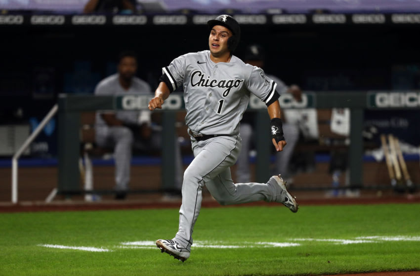 KANSAS CITY, MISSOURI - JULY 31: Nick Madrigal #1 of the Chicago White Sox sprints toward home plate during the 7th inning of the game against the Kansas City Royals at Kauffman Stadium on July 31, 2020 in Kansas City, Missouri. (Photo by Jamie Squire/Getty Images)