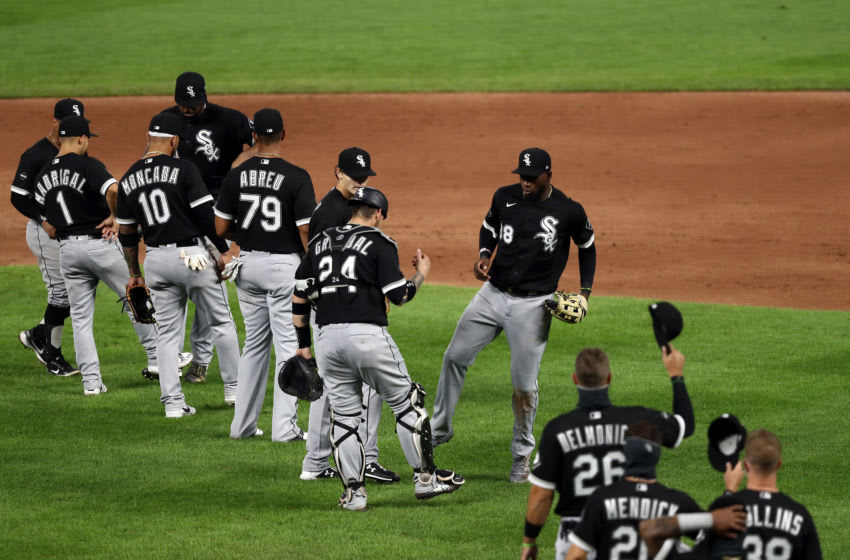 KANSAS CITY, MISSOURI - AUGUST 01: Luis Robert #88 of the Chicago White Sox celebrates with teammates after the Chicago White Sox defeated the Kansas City Royals 11-5 to win the game at Kauffman Stadium on August 01, 2020 in Kansas City, Missouri. (Photo by Jamie Squire/Getty Images)