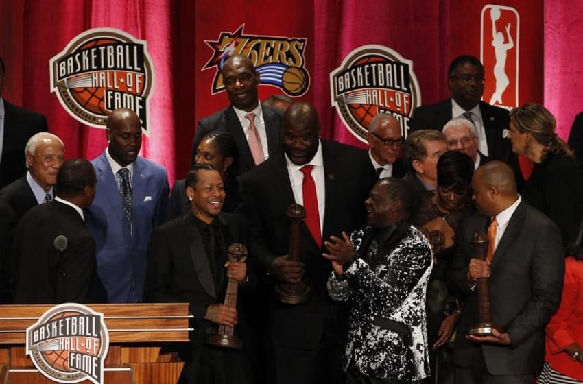 Sep 09, 2016; Springfield, MA, USA; Shaquille O Neal (center) and Allen Iverson on stage at the Springfield Symphony Hall after the 2016 Naismith Memorial Basketball Hall of Fame Enshrinement Ceremony. Mandatory Credit: David Butler II-USA TODAY Sports