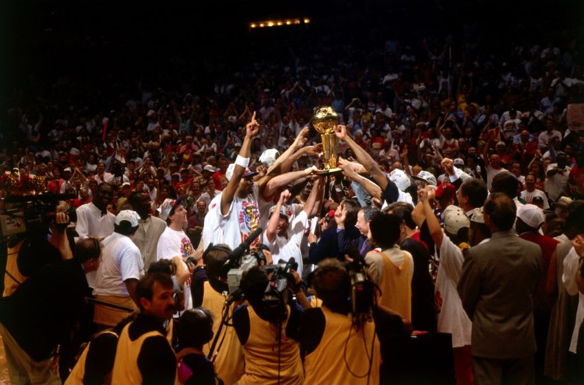 The Houston Rockets celebrate their Championship after winning the 1995 NBA Finals against the Orlado Magic (Photo by Noren Trotman/NBAE via Getty Images)