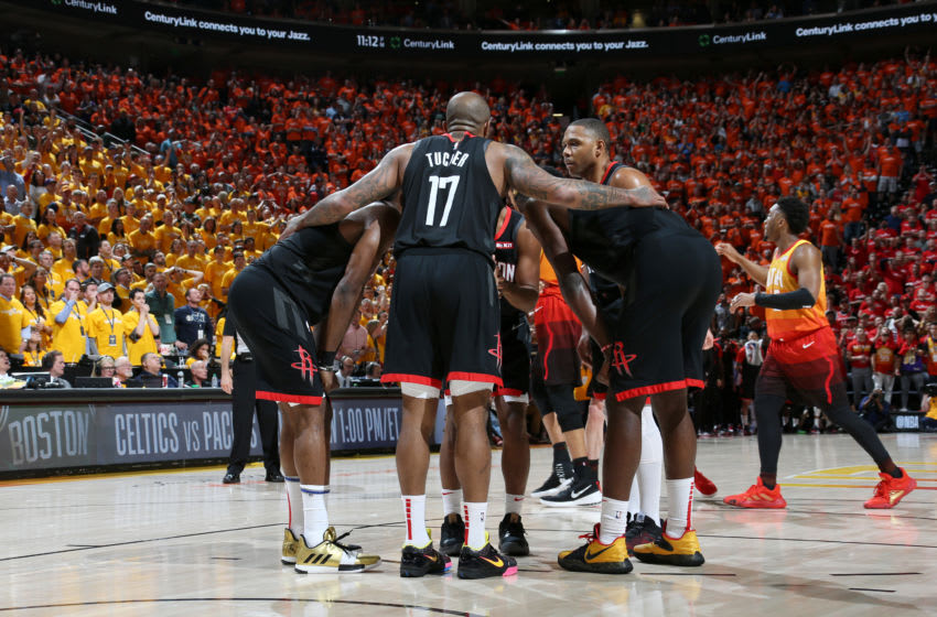 Houston Rockets huddle up during Game Three of Round One of the 2019 NBA Playoffs (Photo by Melissa Majchrzak/NBAE via Getty Images)