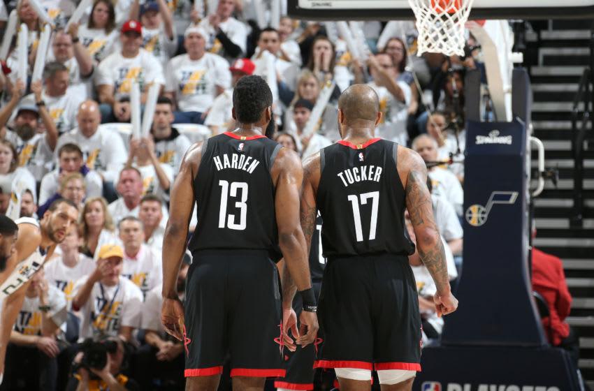Houston Rockets James Harden P.J. Tucker (Photo by Melissa Majchrzak/NBAE via Getty Images)