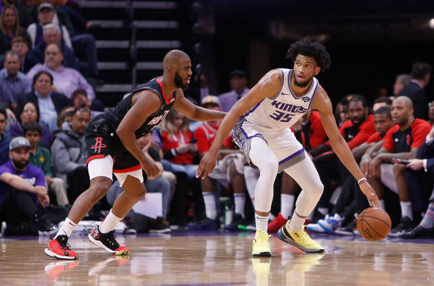 Chris Paul #3 of the Houston Rockets guards Marvin Bagley III #35 of the Sacramento Kings (Photo by Lachlan Cunningham/Getty Images)