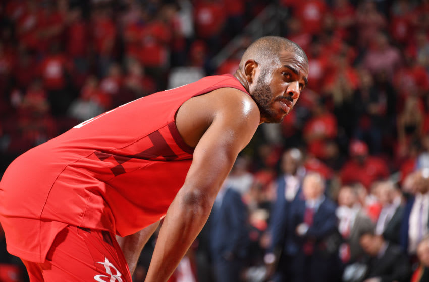 HOUSTON, TX - MAY 10: Chris Paul #3 of the Houston Rockets looks on against the Golden State Warriors during Game Six of the Western Conference Semifinals of the 2019 NBA Playoffs on May 10, 2019 at the Toyota Center in Houston, Texas. NOTE TO USER: User expressly acknowledges and agrees that, by downloading and/or using this photograph, user is consenting to the terms and conditions of the Getty Images License Agreement. Mandatory Copyright Notice: Copyright 2019 NBAE (Photo by Andrew D. Bernstein/NBAE via Getty Images)