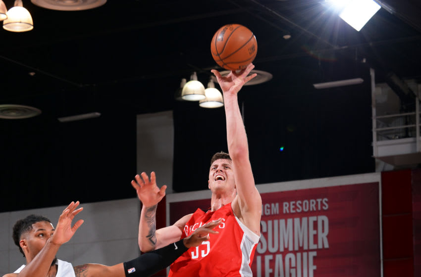 Las Vegas, NV - JULY 7: Isaiah Hartenstein #55 of the Houston Rockets shoots the ball during the game against the Portland Trial Blazers during Day 3 of the 2019 Las Vegas Summer League on July 7, 2019 at the Cox Pavilion in Las Vegas, Nevada. NOTE TO USER: User expressly acknowledges and agrees that, by downloading and or using this Photograph, user is consenting to the terms and conditions of the Getty Images License Agreement. Mandatory Copyright Notice: Copyright 2019 NBAE (Photo by Bart Young/NBAE via Getty Images)