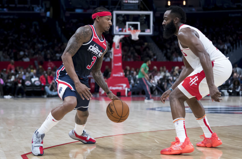 Bradley Beal #3 of the Washington Wizards, James Harden #13 of the Houston Rockets (Photo by Scott Taetsch/Getty Images)