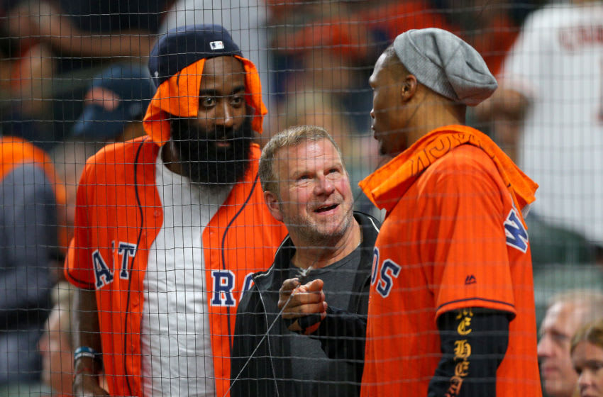Houston Rockets James Harden Tilman Fertitta Russell Westbrook (Photo by Bob Levey/Getty Images)