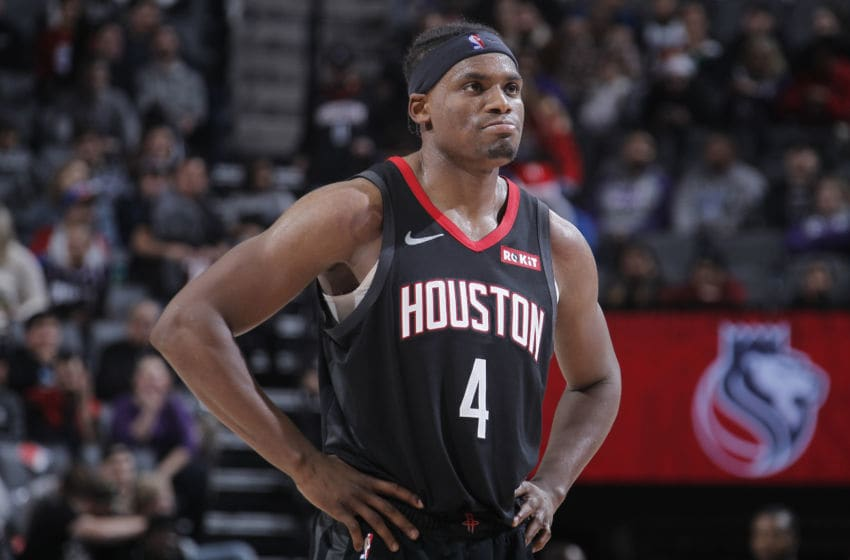 SACRAMENTO, CA - DECEMBER 23: Danuel House Jr. #4 of the Houston Rockets looks on during the game against the Sacramento Kings on December 23, 2019 at Golden 1 Center in Sacramento, California. NOTE TO USER: User expressly acknowledges and agrees that, by downloading and or using this photograph, User is consenting to the terms and conditions of the Getty Images Agreement. Mandatory Copyright Notice: Copyright 2019 NBAE (Photo by Rocky Widner/NBAE via Getty Images)