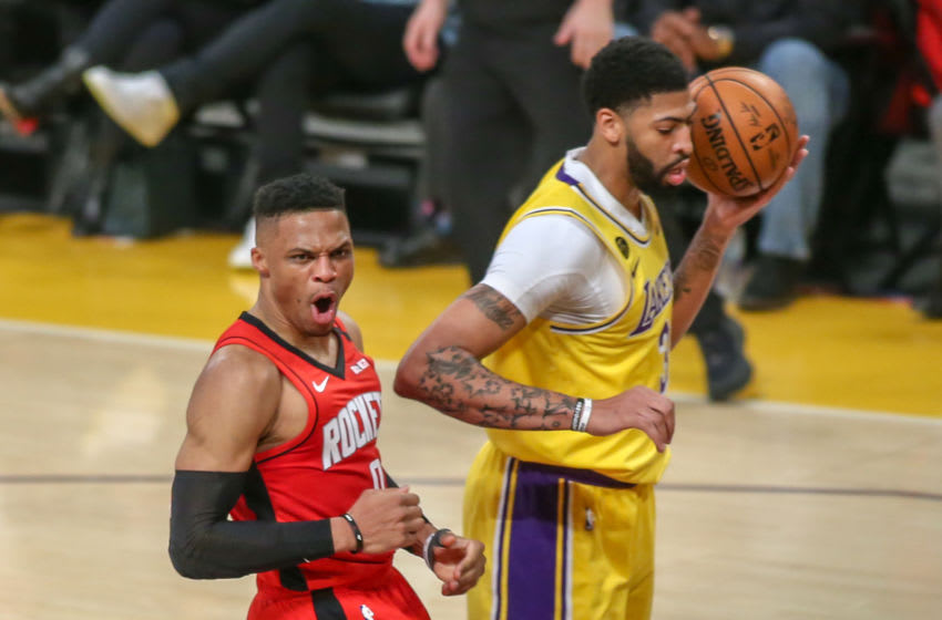 LOS ANGELES, CA - FEBRUARY 06: Houston Rockets guard Russell Westbrook (0) shows emotion after a basket during the Houston Rockets vs Los Angeles Lakers game on February 06, 2020, at Staples Center in Los Angeles, CA. (Photo by Jevone Moore/Icon Sportswire via Getty Images)