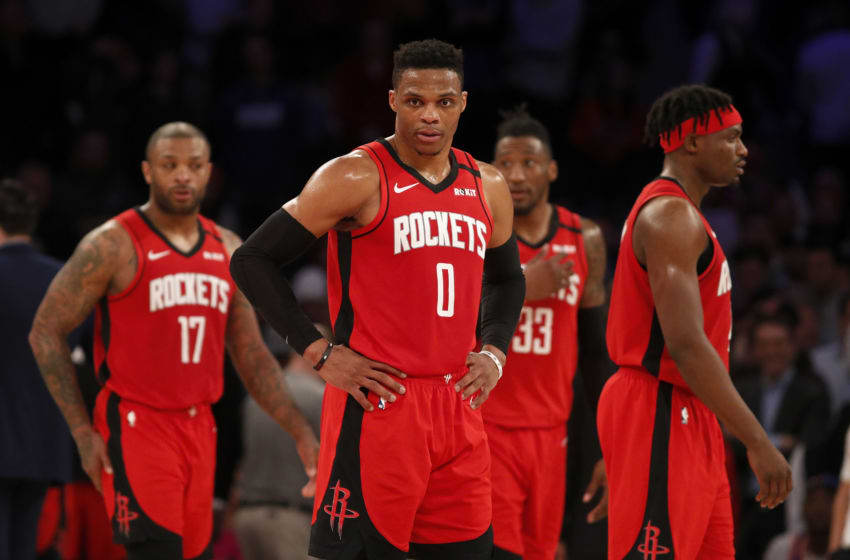 Houston Rockets P.J. Tucker Russell Westbrook Robert Covington Danuel House (Photo by Jim McIsaac/Getty Images)
