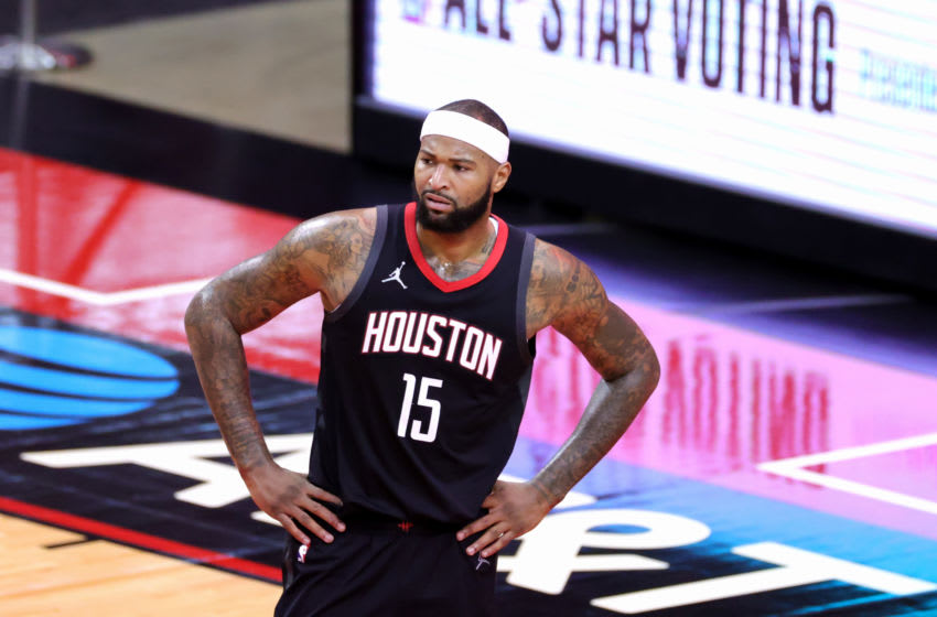 HOUSTON, TEXAS - FEBRUARY 11: DeMarcus Cousins #15 of the Houston Rockets looks on during the fourth quarter of a game at the Toyota Center on February 11, 2021 in Houston, Texas. NOTE TO USER: User expressly acknowledges and agrees that, by downloading and or using this photograph, User is consenting to the terms and conditions of the Getty Images License Agreement. (Photo by Carmen Mandato/Getty Images)
