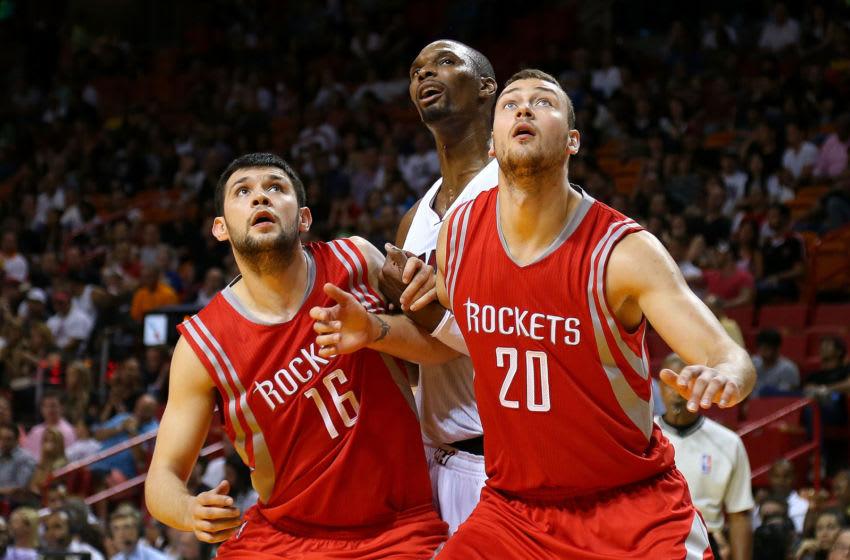 Houston Rockets Kostas Papanikolaou #16 and Donatas Motiejunas (Photo by Mike Ehrmann/Getty Images)