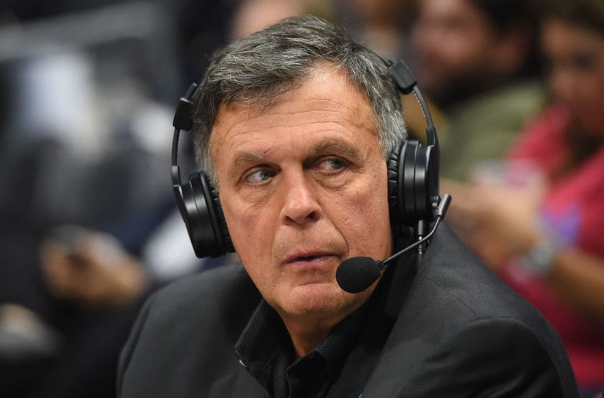 Kevin McHale works as a NBA analyst for Turner sports at the game between the Los Angeles Clippers and the San Antonio Spurs at Staples Center on April 3, 2018 in Los Angeles, California. NOTE TO USER: User expressly acknowledges and agrees that, by downloading and or using this photograph, User is consenting to (Photo by Jayne Kamin-Oncea/Getty Images)