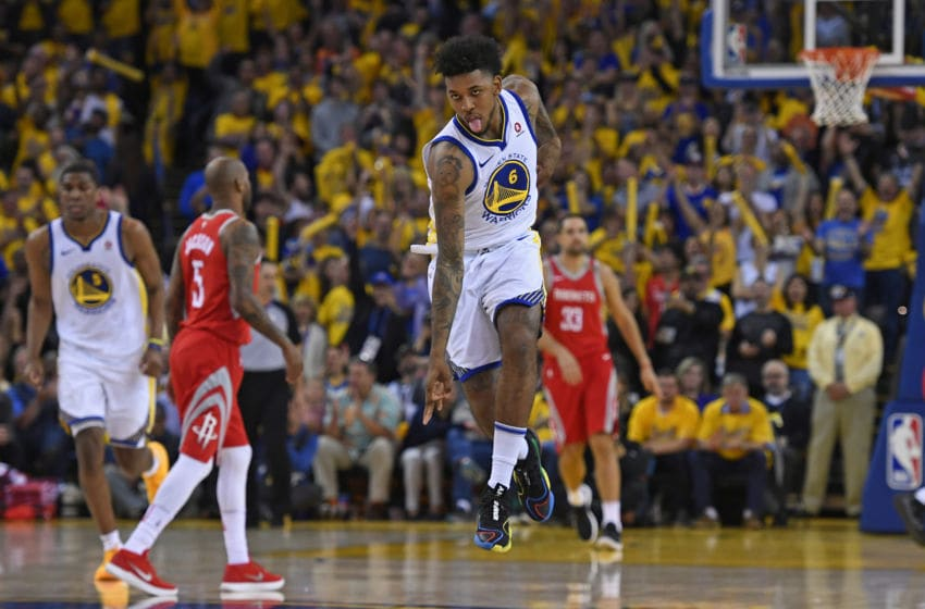 OAKLAND, CA - MAY 26: Golden State Warriors' Nick Young (6) gestures after making a basket against the Houston Rockets during the fourth quarter of Game 6 of the NBA Western Conference finals at Oracle Arena in Oakland, Calif., on Saturday, May 26, 2018. The Golden State Warriors defeated the Houston Rockets 115-86. (Jose Carlos Fajardo/Bay Area News Group via Getty Images)