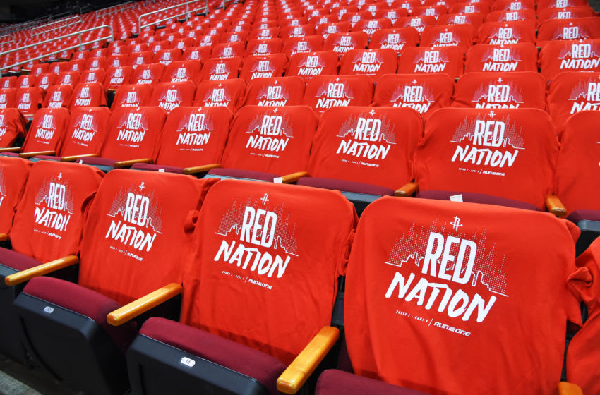 A view of t-shirts for fans prior to Game Six of the Western Conference Semifinals of the 2019 NBA Playoffs between the Houston Rockets and Golden State Warriors (Photo by Bill Baptist/NBAE via Getty Images)