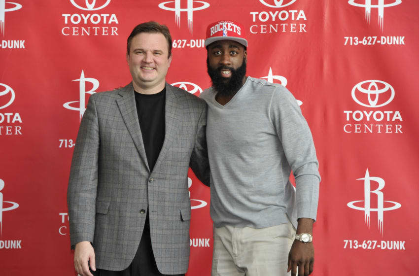 Daryl Morey and James Harden of the Houston Rockets (Photo by Bill Baptist/NBAE via Getty Images)