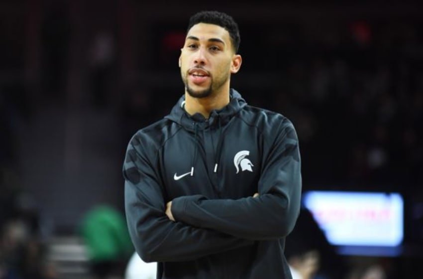 Dec 22, 2015; Auburn Hills, MI, USA; Michigan State Spartans guard Denzel Valentine (45) before the game against the Oakland Golden Grizzlies at The Palace of Auburn Hills. Mandatory Credit: Tim Fuller-USA TODAY Sports
