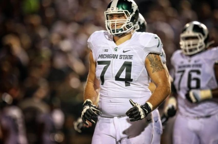 Sep 4, 2015; Kalamazoo, MI, USA; Michigan State Spartans offensive tackle Jack Conklin (74) walks off the field during the 1st half of a game against the Western Michigan Broncos at Waldo Stadium. Mandatory Credit: Mike Carter-USA TODAY Sports