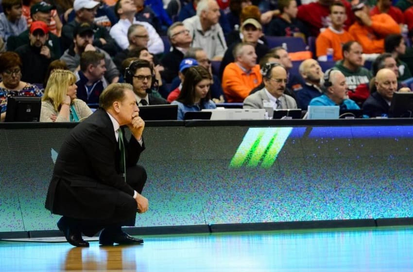 Mar 18, 2016; St. Louis, MO, USA; Michigan State Spartans head coach Tom Izzo looks on during the second half of the first round against the Middle Tennessee Blue Raiders in the 2016 NCAA Tournament at Scottrade Center. Mandatory Credit: Jeff Curry-USA TODAY Sports