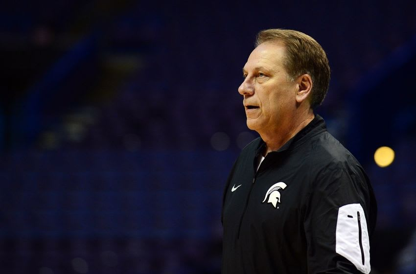 Mar 17, 2016; St. Louis, MO, USA; Michigan State Spartans head coach Tom Izzo looks on during a practice day before the first round of the NCAA men