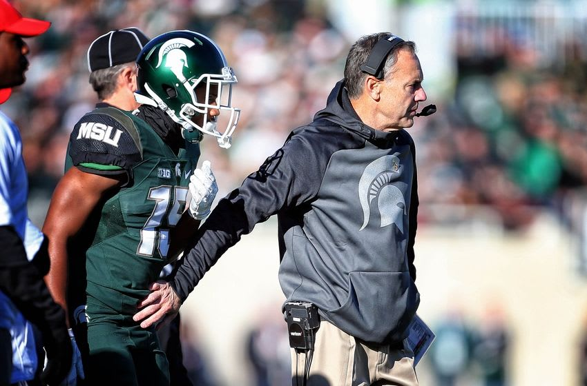 Nov 14, 2015; East Lansing, MI, USA; Michigan State Spartans head coach Mark Dantonio stands on the sidelines during the 1st quarter of a game against the Maryland Terrapins at Spartan Stadium. Mandatory Credit: Mike Carter-USA TODAY Sports