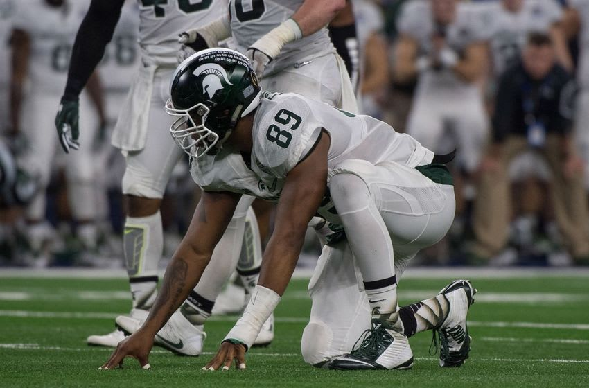 Dec 31, 2015; Arlington, TX, USA; Michigan State Spartans defensive end Shilique Calhoun (89) during the game against the Alabama Crimson Tide in the 2015 Cotton Bowl at AT&T Stadium. Mandatory Credit: Jerome Miron-USA TODAY Sports