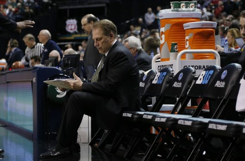 Mar 11, 2016; Indianapolis, IN, USA; Michigan State Spartans coach Tom Izzo coaches against the Ohio State Buckeyes during the Big Ten Conference tournament at Bankers Life Fieldhouse. Mandatory Credit: Brian Spurlock-USA TODAY Sports