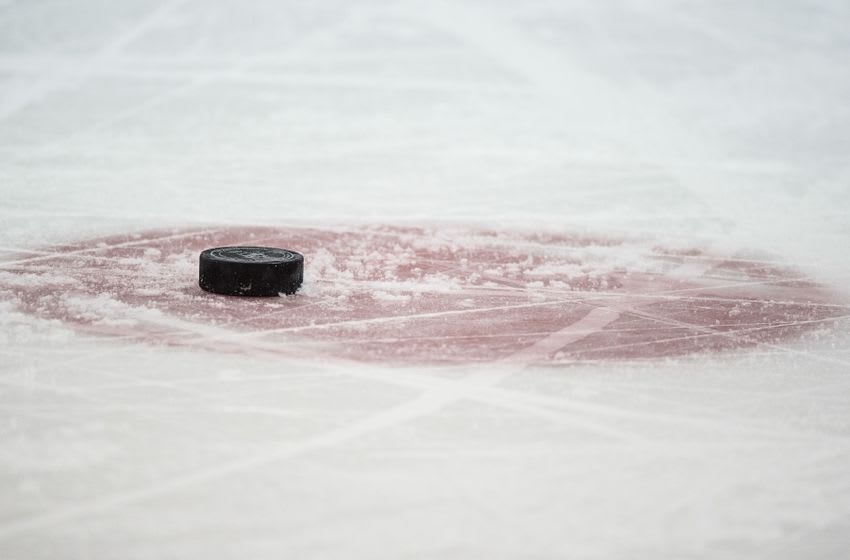 Jan 21, 2016; Dallas, TX, USA; A view of a hockey puck and face-off circle during the game between the Dallas Stars and the Edmonton Oilers at the American Airlines Center. The Stars defeat the Oilers 3-2. Mandatory Credit: Jerome Miron-USA TODAY Sports