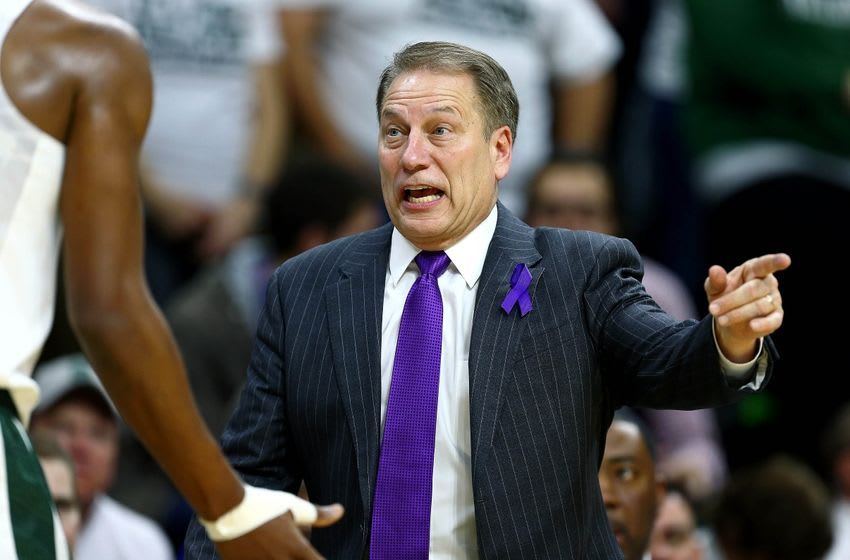 Jan 7, 2016; East Lansing, MI, USA; Michigan State Spartans head coach Tom Izzo reacts to a play during the 1st half of a game against the Illinois Fighting Illini at Jack Breslin Student Events Center. Mandatory Credit: Mike Carter-USA TODAY Sports