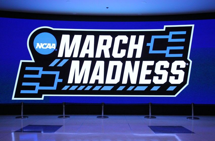 Mar 24, 2016; Chicago, IL, USA; General view of a march madness logo during practice the day before the semifinals of the Midwest regional of the NCAA Tournament at United Center. Mandatory Credit: Dennis Wierzbicki-USA TODAY Sports