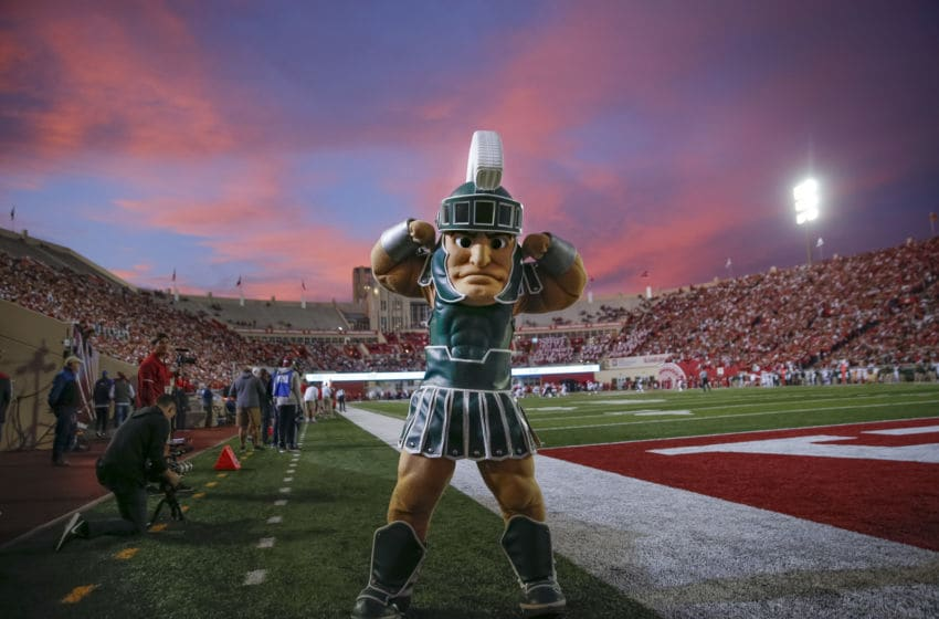 BLOOMINGTON, IN - SEPTEMBER 22: The Michigan State Spartans mascot Sparty flexes during the game against the Indiana Hoosiers at Memorial Stadium on September 22, 2018 in Bloomington, Indiana. (Photo by Michael Hickey/Getty Images)