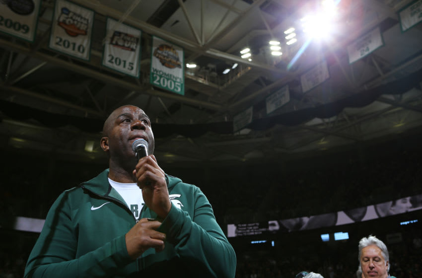 EAST LANSING, MI - FEBRUARY 09: NBA legend and former Michigan State star Earvin