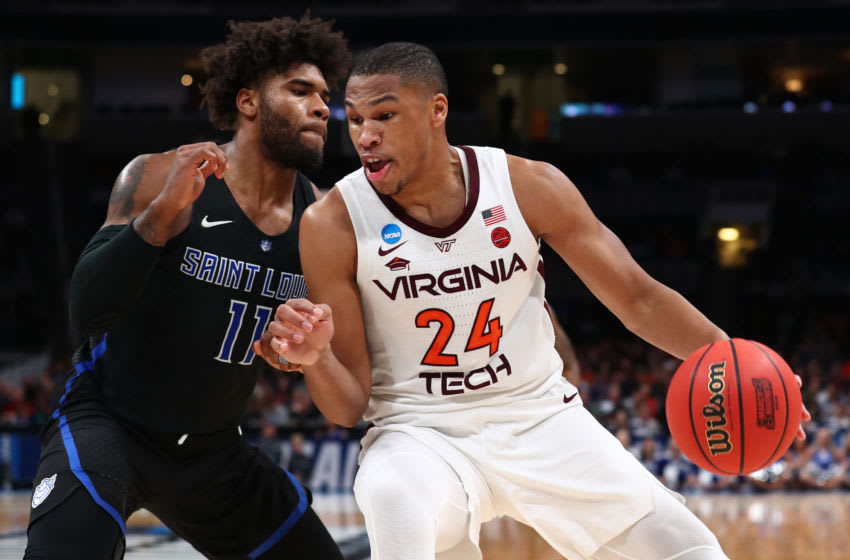 SAN JOSE, CALIFORNIA - MARCH 22: Kerry Blackshear Jr. #24 of the Virginia Tech Hokies drives with the ball against Hasahn French #11 of the Saint Louis Billikens during their game in the First Round of the NCAA Basketball Tournament at SAP Center on March 22, 2019 in San Jose, California. (Photo by Yong Teck Lim/Getty Images)
