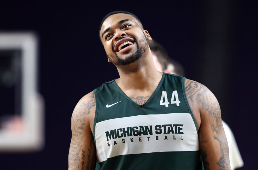 MINNEAPOLIS, MINNESOTA - APRIL 05: Nick Ward #44 of the Michigan State Spartans looks on during practice prior to the 2019 NCAA men's Final Four at U.S. Bank Stadium on April 5, 2019 in Minneapolis, Minnesota. (Photo by Streeter Lecka/Getty Images)