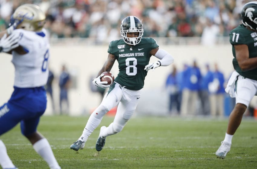 EAST LANSING, MI - AUGUST 30: Jalen Nailor #8 of the Michigan State Spartans runs with the ball during a game against the Tulsa Golden Hurricane at Spartan Stadium on August 30, 2019 in East Lansing, Michigan. Michigan State defeated Tulsa 28-7. (Photo by Joe Robbins/Getty Images)