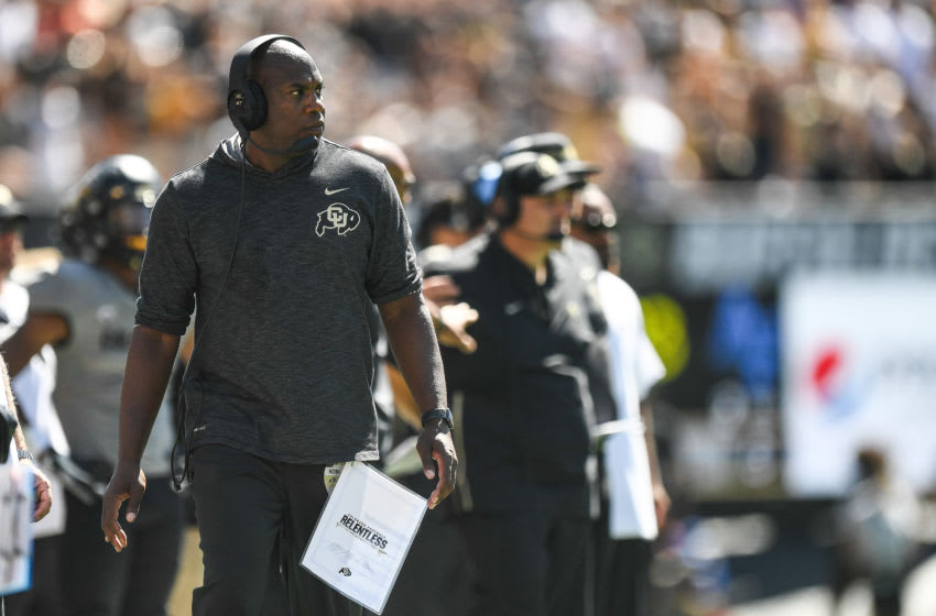 BOULDER, CO - SEPTEMBER 14: Head coach Mel Tucker of the Colorado Buffaloes walks along the sideline in the fourth quarter of a game against the Air Force Falcons at Folsom Field on September 14, 2019 in Boulder, Colorado. (Photo by Dustin Bradford/Getty Images)
