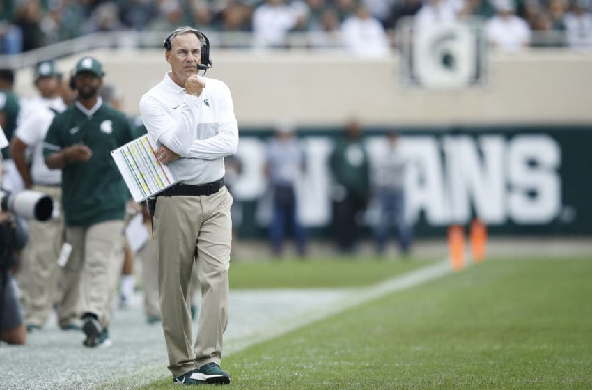 EAST LANSING, MI - SEPTEMBER 28: Head coach Mark Dantonio of the Michigan State Spartans reacts after a touchdown by the Indiana Hoosiers in the first quarter at Spartan Stadium on September 28, 2019 in East Lansing, Michigan. (Photo by Joe Robbins/Getty Images)