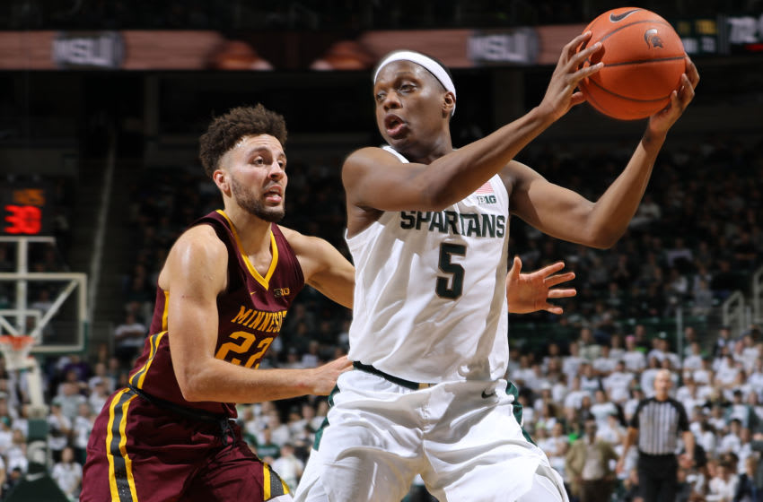EAST LANSING, MI - JANUARY 09: Cassius Winston #5 of the Michigan State Spartans handles the ball during the second half of the game against Gabe Kalscheur #22 of the Minnesota Golden Gophers at the Breslin Center on January 9, 2020 in East Lansing, Michigan. (Photo by Rey Del Rio/Getty Images)