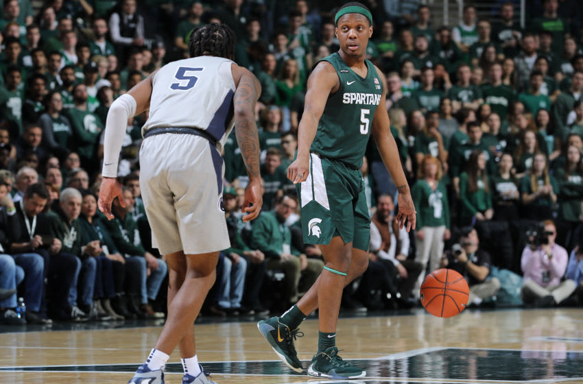 EAST LANSING, MI - FEBRUARY 04: Cassius Winston #5 of the Michigan State Spartans handles the ball against Jamari Wheeler #5 of the Penn State Nittany Lions in the first half of the game at the Breslin Center on February 4, 2020 in East Lansing, Michigan. (Photo by Rey Del Rio/Getty Images)