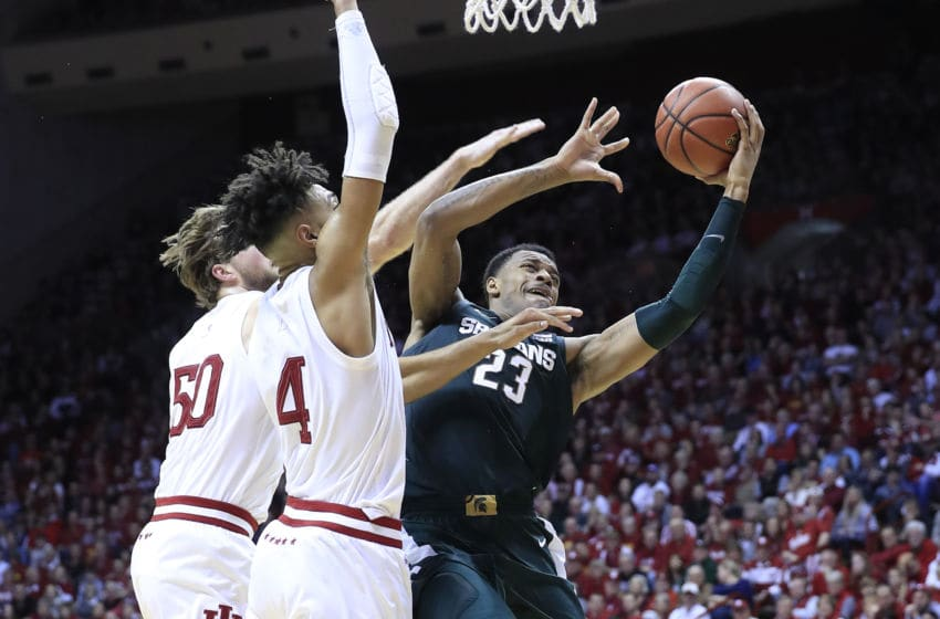 BLOOMINGTON, INDIANA - JANUARY 23: Xavier Tillman #23 of the Michigan State Spartans shoots the ball against the Indiana Hoosiers at Assembly Hall on January 23, 2020 in Bloomington, Indiana. (Photo by Andy Lyons/Getty Images)