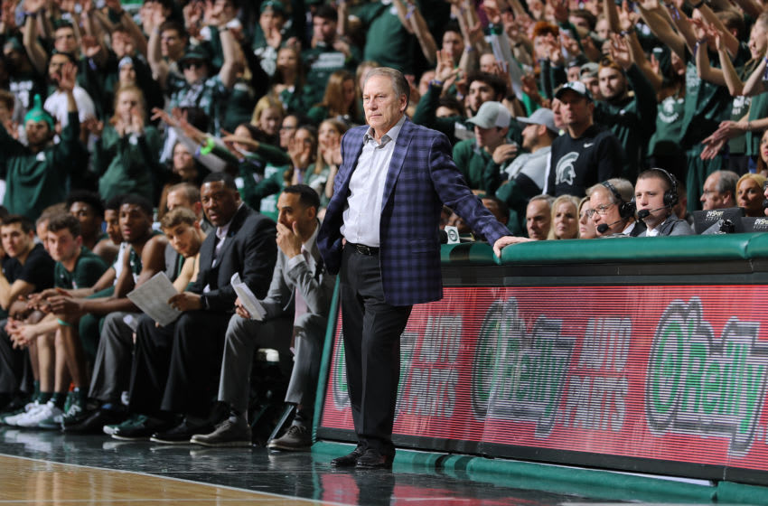 EAST LANSING, MI - FEBRUARY 04: Head coach Tom Izzo of the Michigan State Spartans looks on in the first half of the game against the Penn State Nittany Lions at the Breslin Center on February 4, 2020 in East Lansing, Michigan. (Photo by Rey Del Rio/Getty Images)
