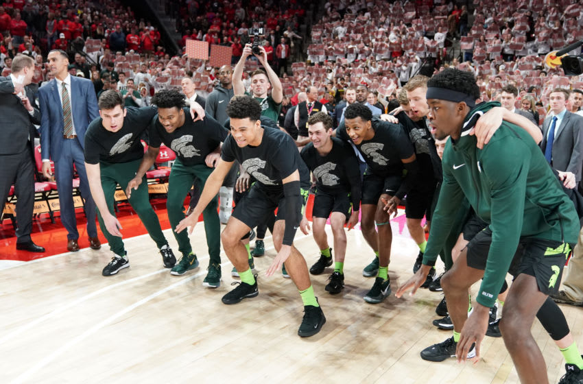 Michigan State basketball during introductions (Photo by Mitchell Layton/Getty Images) *** Local Caption ***