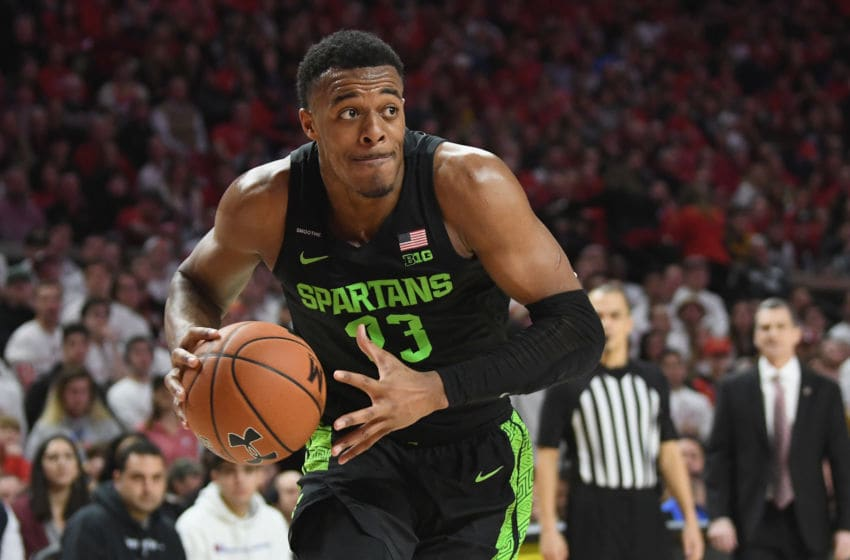 COLLEGE PARK, MD - FEBRUARY 29: Xavier Tillman Sr. #23 of the Michigan State Spartans handles the ball against the Maryland Terrapins at Xfinity Center on February 29, 2020 in College Park, Maryland. (Photo by G Fiume/Maryland Terrapins/Getty Images)