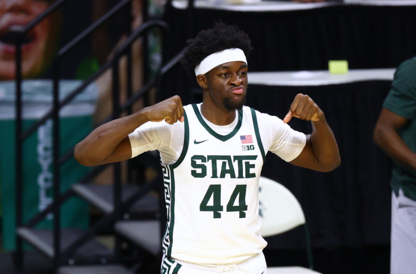EAST LANSING, MI - NOVEMBER 25: Gabe Brown #44 of the Michigan State Spartans celebrates in the second half of the game against the Eastern Michigan Eagles at Breslin Center on November 25, 2020 in East Lansing, Michigan. (Photo by Rey Del Rio/Getty Images)