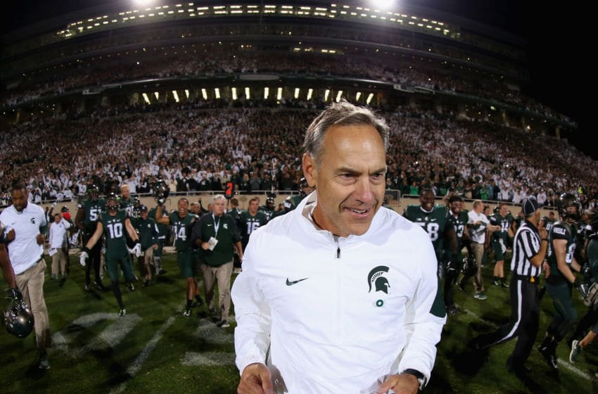 EAST LANSING, MI - SEPTEMBER 12: Head coach Mark Dantonio of the Michigan State Spartans reacts after defeating the Oregon Ducks 31-28 at Spartan Stadium on September 12, 2015 in East Lansing, Michigan. (Photo by Streeter Lecka/Getty Images)