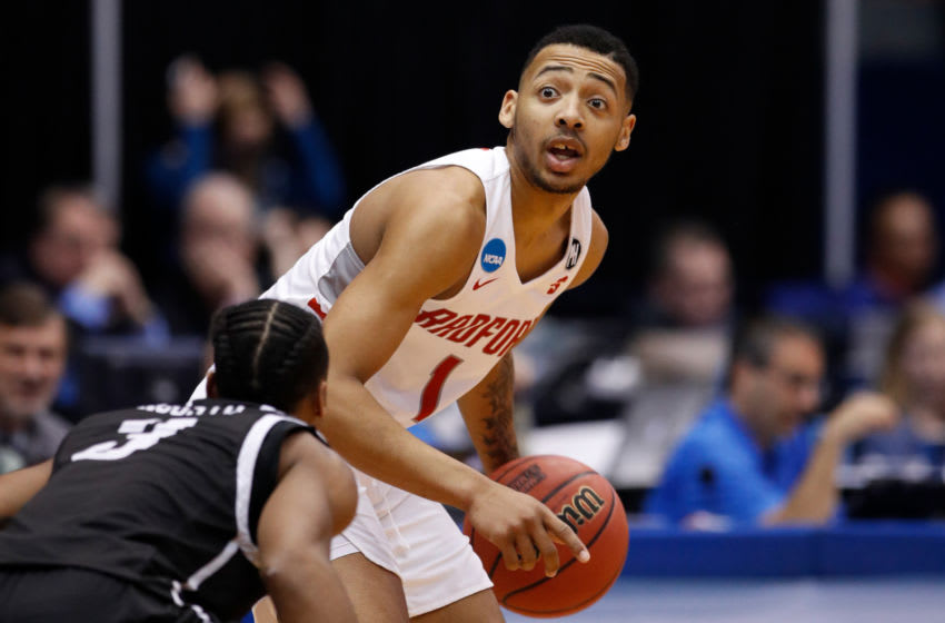 DAYTON, OH - MARCH 13: Carlik Jones #1 of the Radford Highlanders handles the ball on offense against the Long Island Blackbirds during the second half of the First Four game in the 2018 NCAA Men's Basketball Tournament at UD Arena on March 13, 2018 in Dayton, Ohio. (Photo by Joe Robbins/Getty Images)