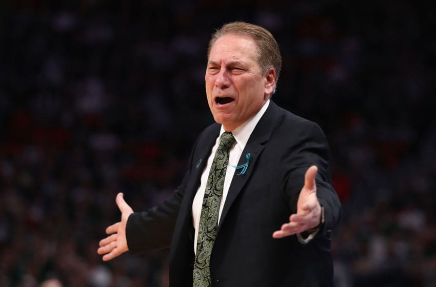 DETROIT, MI - MARCH 18: Head coach Tom Izzo of the Michigan State Spartans reacts during the first half against the Syracuse Orange in the second round of the 2018 NCAA Men's Basketball Tournament at Little Caesars Arena on March 18, 2018 in Detroit, Michigan. (Photo by Gregory Shamus/Getty Images)